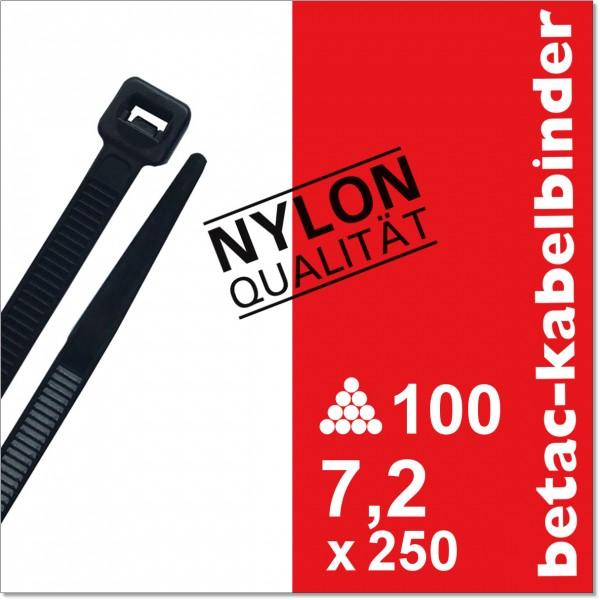 betac-kabelbinder schwarz 7,2x250