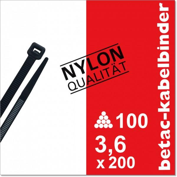 betac-kabelbinder schwarz 3,6x200