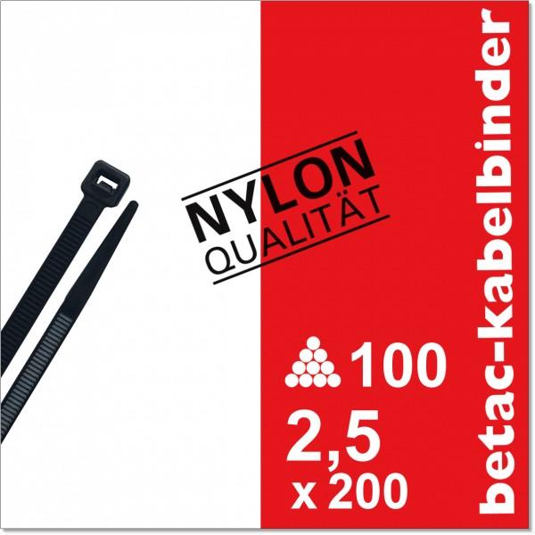 betac-kabelbinder schwarz 2,5x200