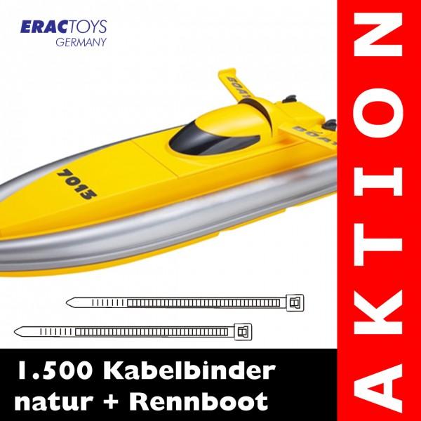 1.500 Kabelbinder natur + R/C Rennboot