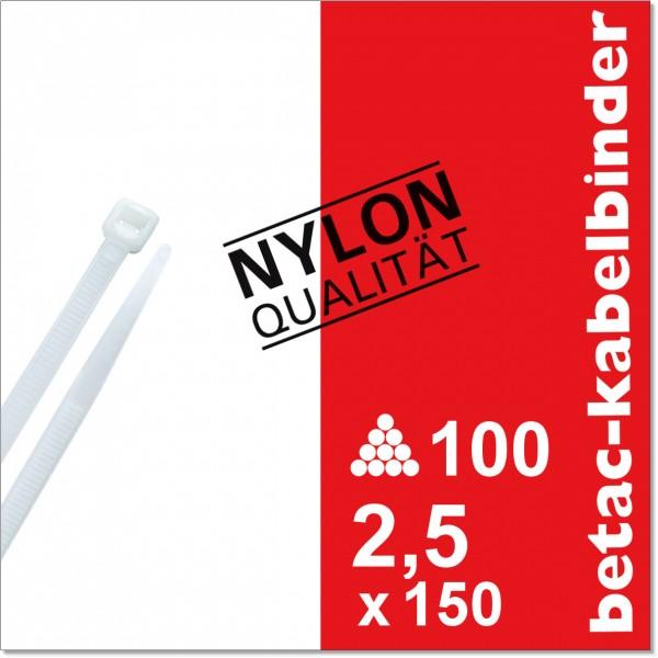 betac-kabelbinder natur 2,5x150