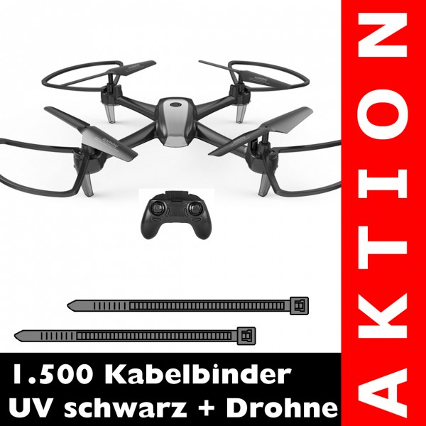 1.500 Kabelbinder schwarz + 2.4G Drohne