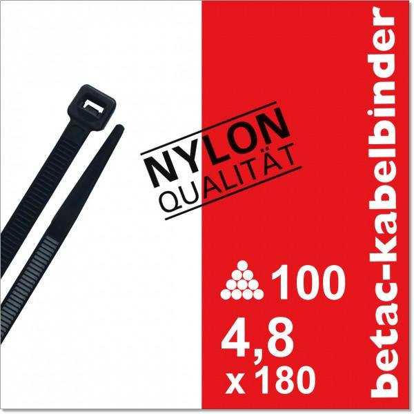 betac-kabelbinder schwarz 4,8x180