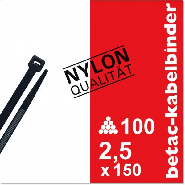 betac-kabelbinder schwarz 2,5x150