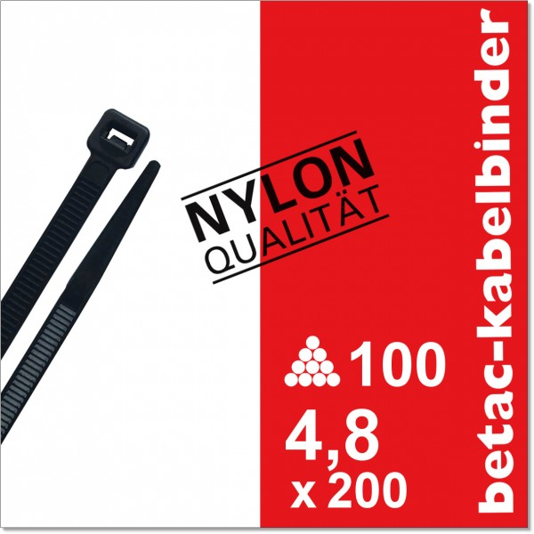 betac-kabelbinder schwarz 4,8x200