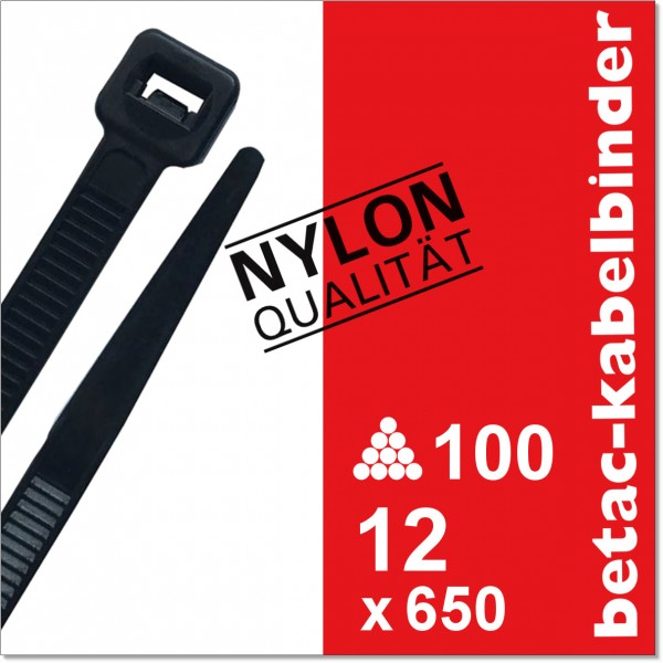 betac-kabelbinder schwarz 12x650